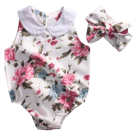 7bad5300360a Summer Newborn Infant Baby Girl Floral Doll collar Romper Jumpsuit  +Headband Outfits Sunsuit Clothes - Walmart.com