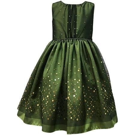 Green Dresses For Little Girls (Little Girls Green Taffeta Mesh Sequin Christmas)
