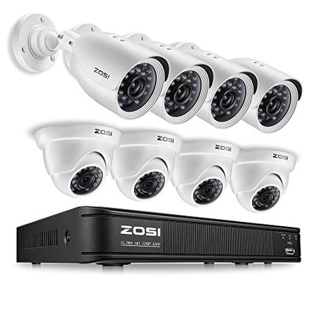 - ZOSI 720p HDTVI Home Security Camera System Full HD, 8 Channel CCTV Dvr Recorder and (8) HD 1.0MP 1280TVL Surveillance Cameras Outdoor/Indoor with Night Vision, Motion Detection (No Hard Drive)