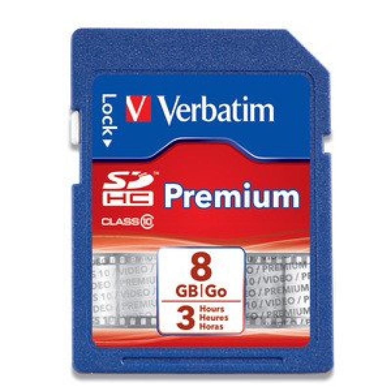 Verbatim Premium SDHC Memory Card, 96318, 8GB, 133X, Clas...