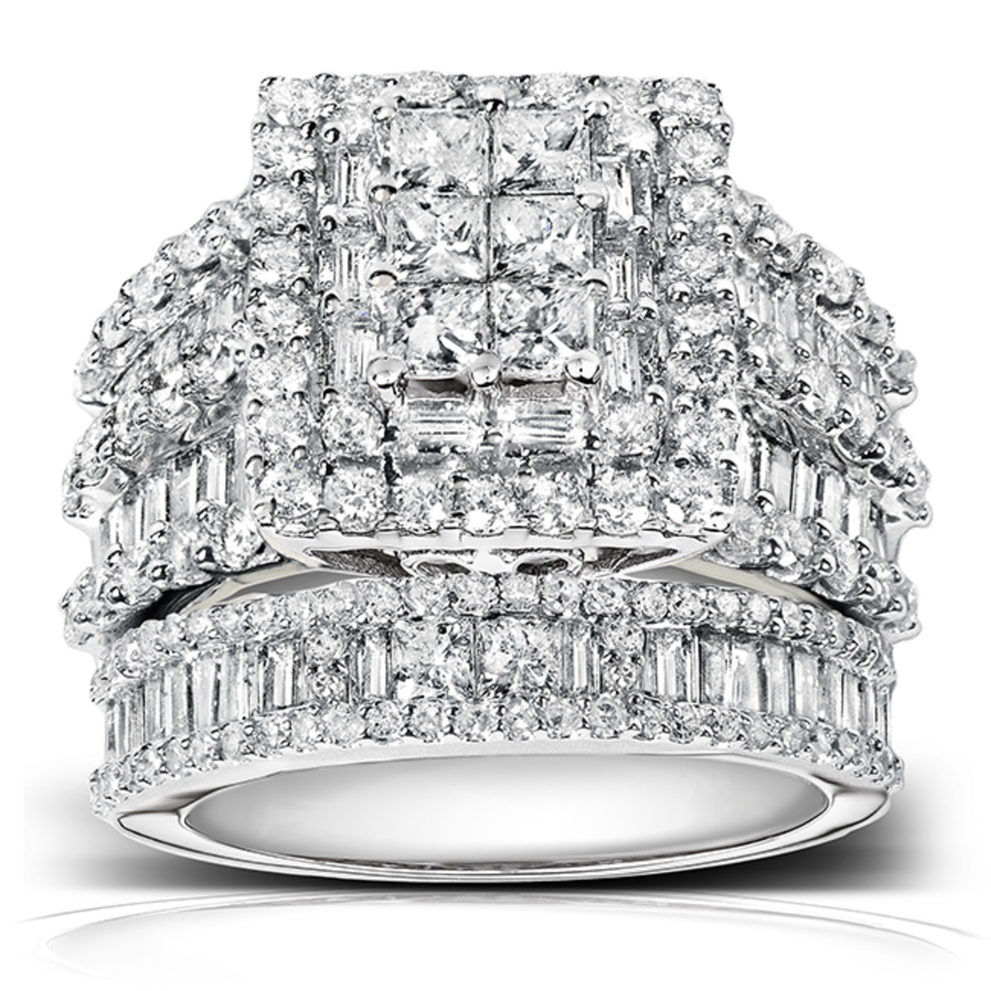 Diamond Engagement Ring and Wedding Band Set 2 4 5 carats (ctw) in 14K White Gold by