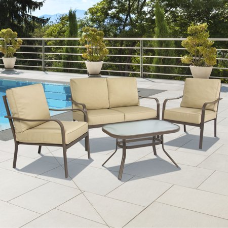 Best Choice Products 4 Piece Cushioned Patio Furniture Set W Loveseat 2 Chairs Coffee Table
