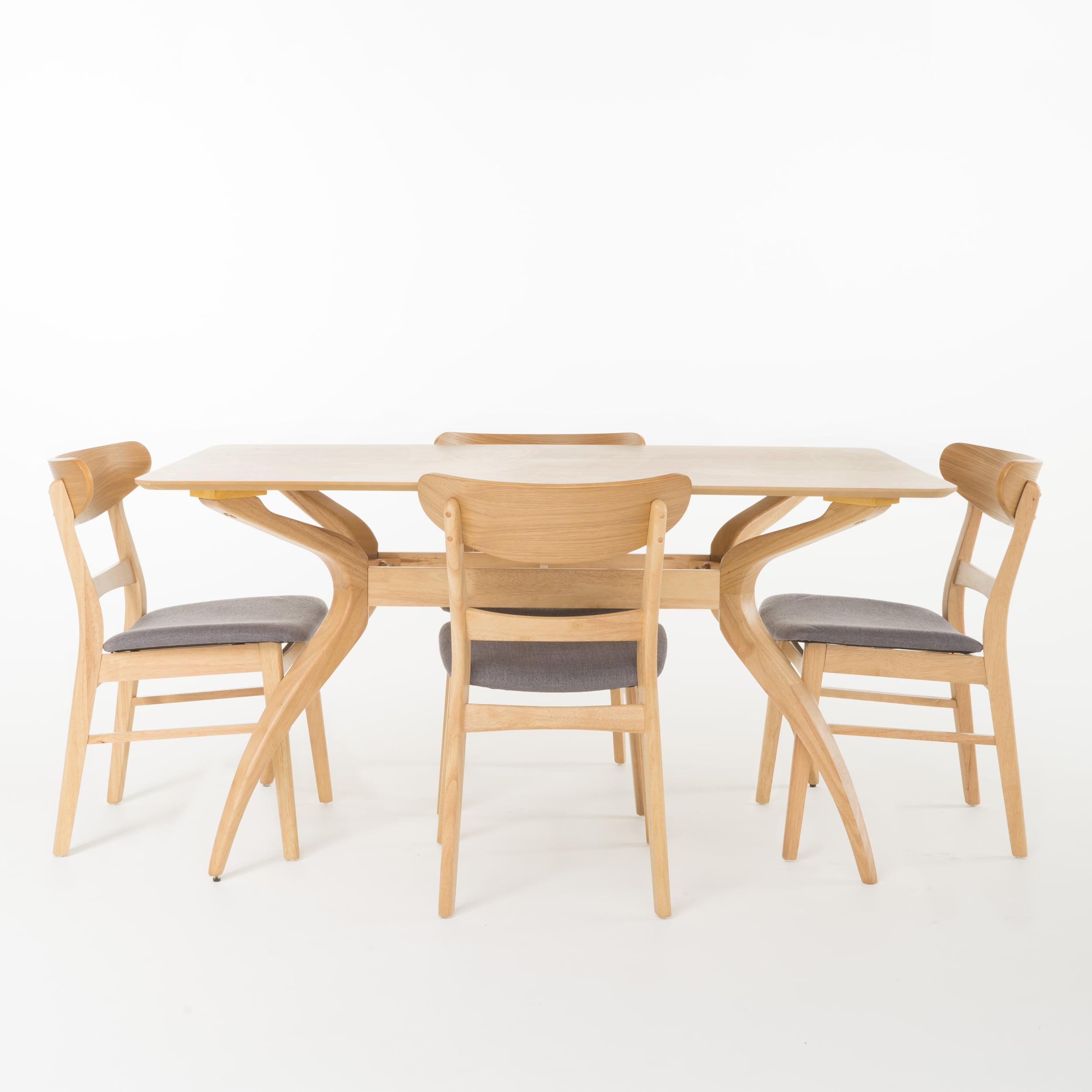 Kloss Curved Leg Rectangular 5-Piece Dining Set, Dark Grey/ Natural Oak Finish