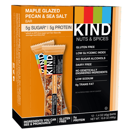 - KIND Bars, Maple Glazed Pecan & Sea Salt, Gluten Free, Low Sugar, 1.4oz, 12 Count