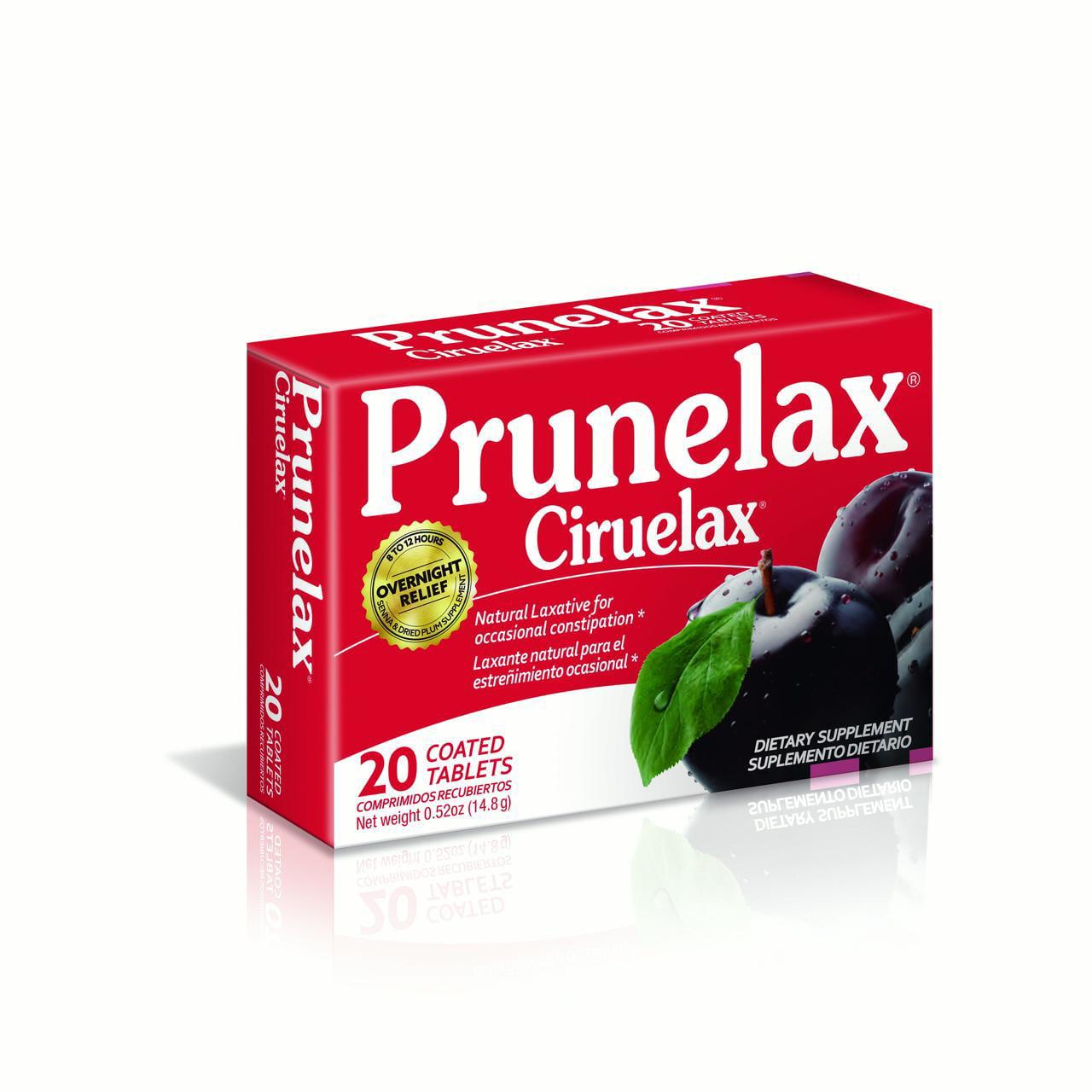 Prunelax Ciruelax Natural Laxative Dietary Supplement Tablets, 20 Ct
