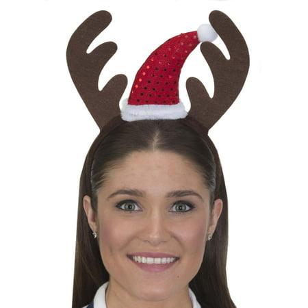 Antlers Reindeer (Reindeer Antlers with Santa Hat Headband Christmas Costume)