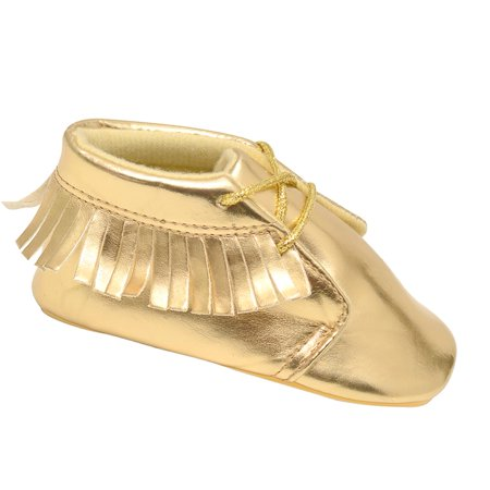 juDanzy Girls Gold Sparkle Fringed Moccasin Soft Sole Casual Shoes