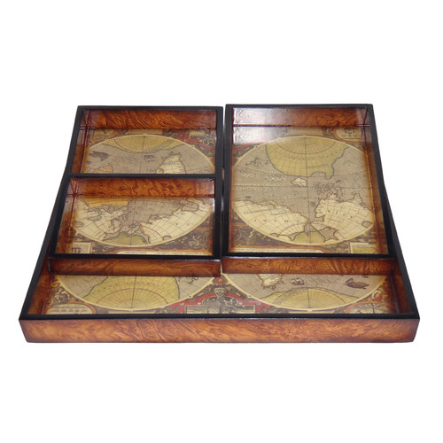 Cheungs 3 Piece Assorted Tray with Global Map Base