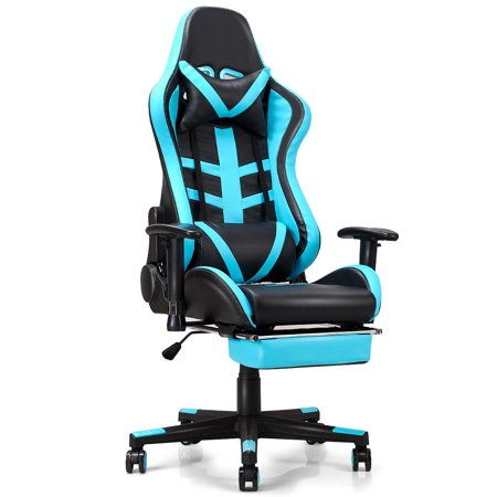 Costway Gaming Chair High Back Racing Recliner Office Chair w/Lumbar Support & -