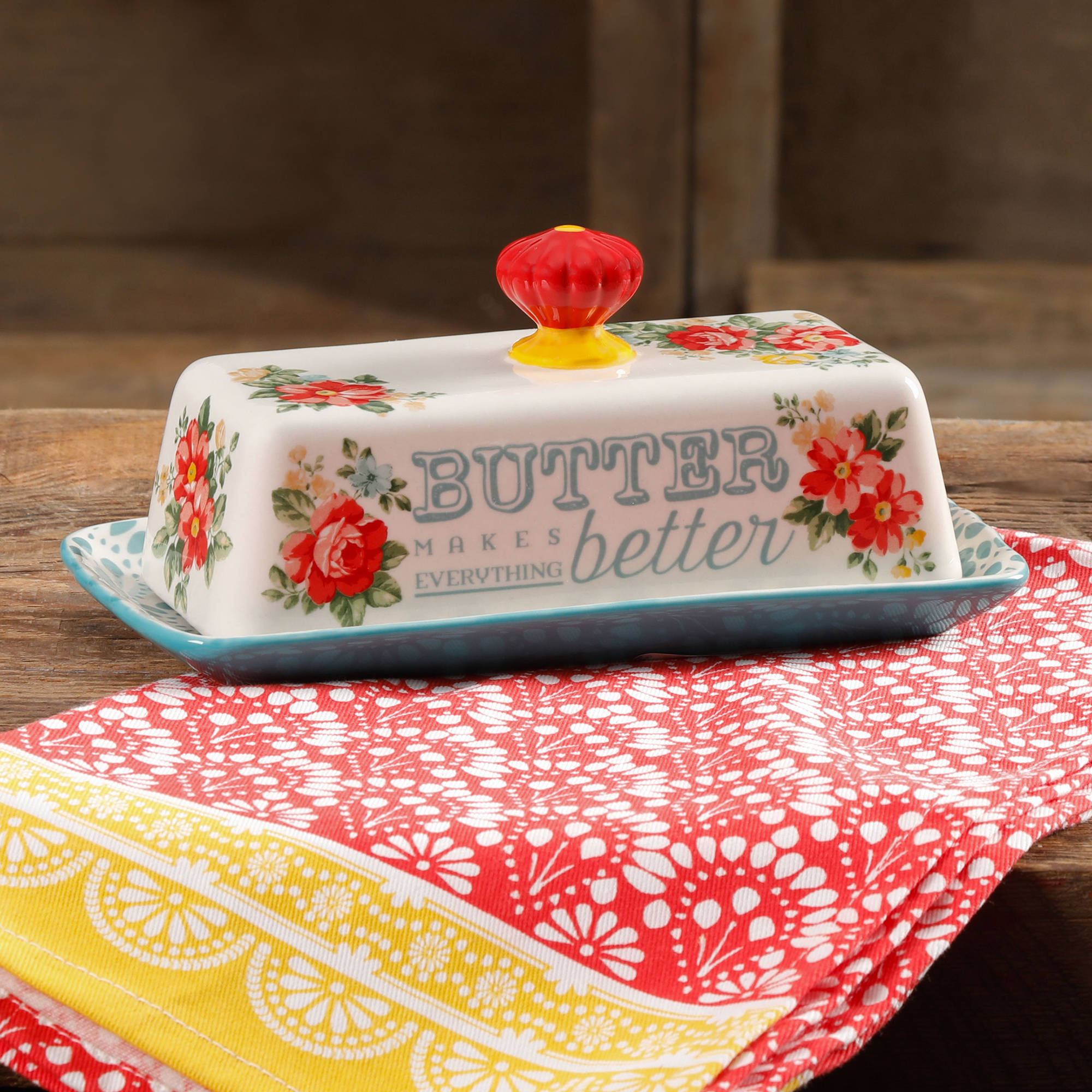 The Pioneer Woman Vintage Floral Teal Butter Dish
