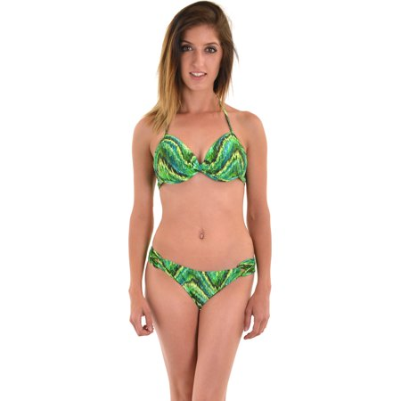 df1764fdc75 Leilani - Leilani Women's 2 Piece Underwire Swimsuit Set Push Up Halter Bikini  Top - Walmart.com