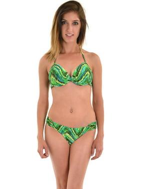 77eb3d7c946b1 Product Image Leilani Women's 2 Piece Underwire Swimsuit Set Push Up Halter  Bikini Top