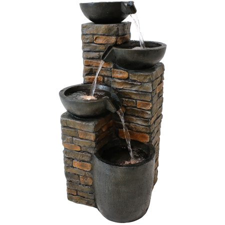 Sunnydaze Staggered Pottery Bowls Outdoor Water Fountain with LED Lights, Garden & Yard Cascading Tiered Waterfall Feature, 34-Inch Tall