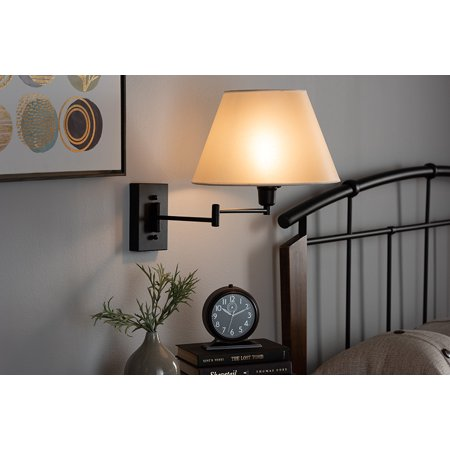 Baxton Studio Klasina Transitional Black Metal Swing Arm Wall Sconce