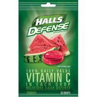 Halls Defense Vitamin C Supplement Drops Bag, Watermelon Flavor - 30 Drops/Bag, 12/Case
