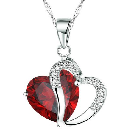 - KATGI Fashion Austrian Ruby Red Crystal Heart Shape Pendant Necklace, 18