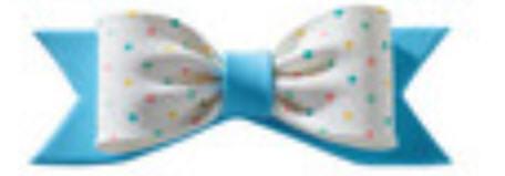 Cake Decoration Gum Paste Bow- Blue & White Confetti