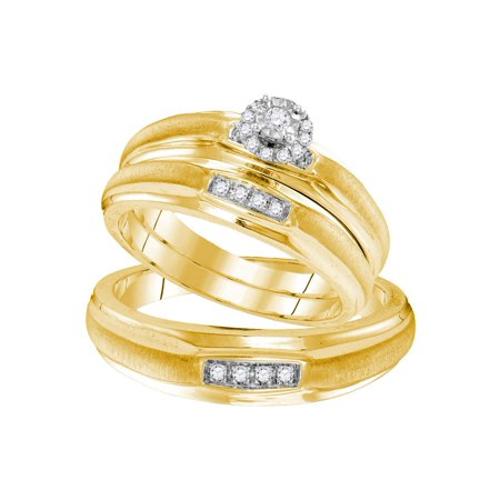 Sizes - L = 7, M = 10 - Yellow-tone 925 Sterling Silver Trio His & Hers Round Diamond Solitaire Matching Bridal Wedding Ring Band Set 1/6 (16 Ring Set)