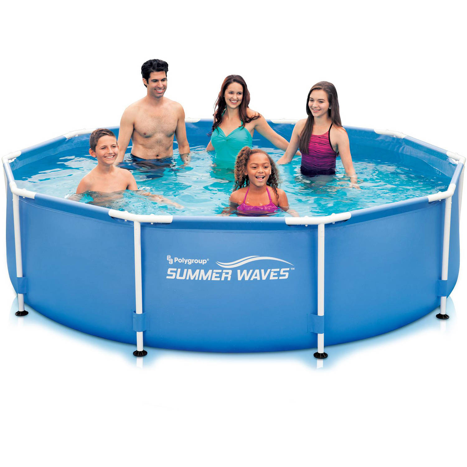 summer waves 10 x 30 round metal frame above ground swimming pool walmartcom