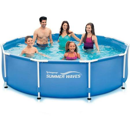 summer waves 10 39 x 30 round metal frame above ground swimming pool. Black Bedroom Furniture Sets. Home Design Ideas