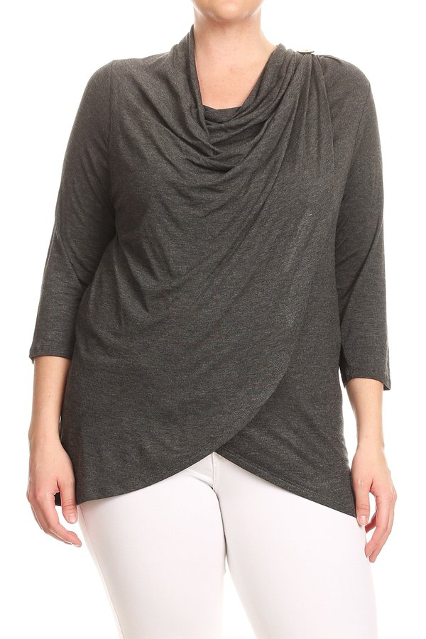 Plus Size Women's Trendy Style 3/4 Sleeves Cowl Neck Solid Top