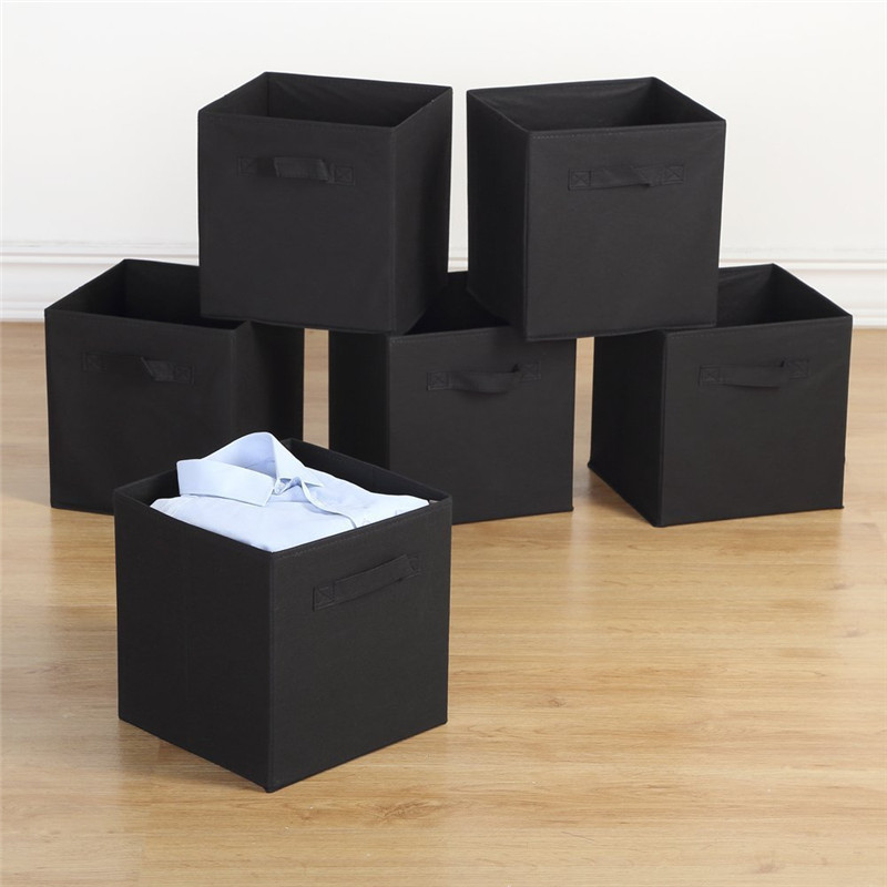 Storage Bins,6 Pack Collapsible Cloth Storage Baskets Durable Nonwoven Cube Basket Organizer Foldable Fabric Drawers