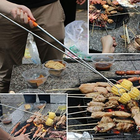 GLiving  Marshmallow Roasting Sticks | Telescopic Skewers Hot Dog Extending Stainless Steel Fork | Extra Long 11''-45