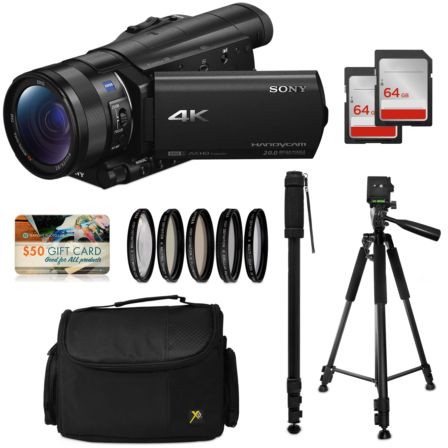 Sony FDR-AX100 4K Ultra HD Camcorder Video Camera Kit, 128GB Memory + Tripod + Monopod + Bag + UV CPL FL ND4... by 47th Street Photo