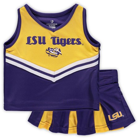 LSU Tigers Colosseum Girls Toddler Pom Pom Cheer Set - Purple/Gold (Tiger Outfit)
