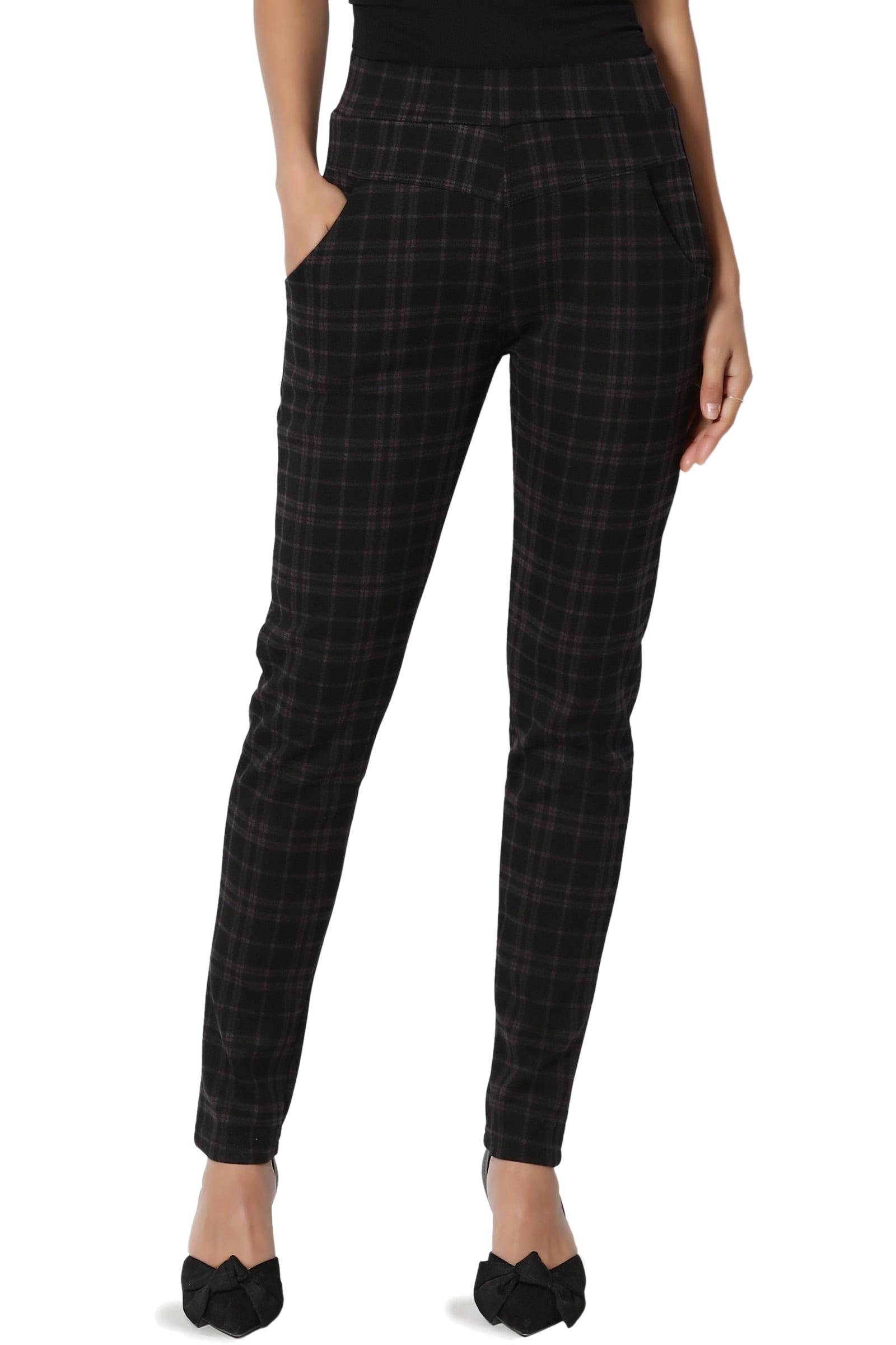 TheMogan Junior's Plaid Warm Knit Pull On High Waist Slim Leg Ankle Pants Trousers