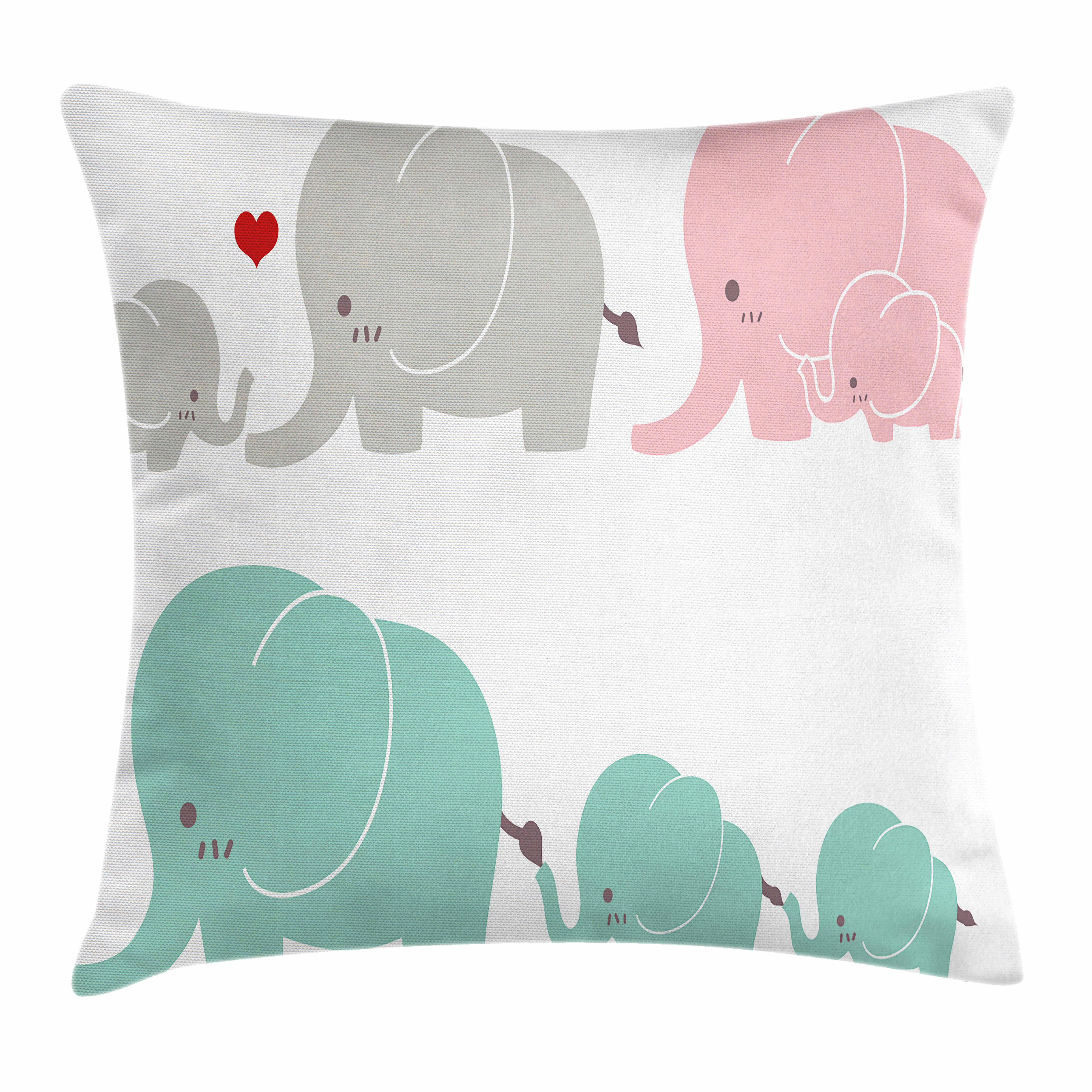 Nursery Throw Pillow Cushion Cover, Family Love Theme Cute Sweet Elephants Mother's Day Theme Baby Children, Decorative Square Accent Pillow Case, 18 X 18 Inches, Seafoam Pale Pink Gray, by Ambesonne