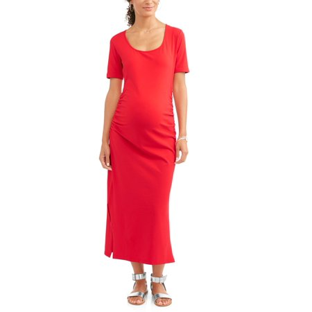 (Maternity Short Sleeve Scoop Neck Solid Maxi Dress with Ruched Sides-- Available In Plus Sizes)
