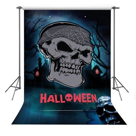 GreenDecor Polyester Fabric 5x7ft Halloween Theme Scary Pirate Skull Photography Backdrop Props For Studio Video - Scary Props For Halloween