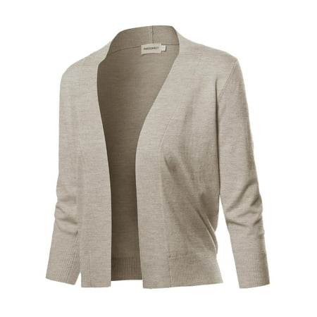 FashionOutfit Women's Solid Soft Stretch 3/4 Sleeve Layer Bolero