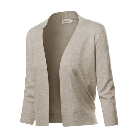 FashionOutfit Women's Solid Soft Stretch 3/4 Sleeve Layer Bolero Cardigan
