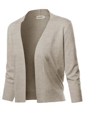 e184d36a197220 Product Image FashionOutfit Women s Solid Soft Stretch 3 4 Sleeve Layer  Bolero Cardigan