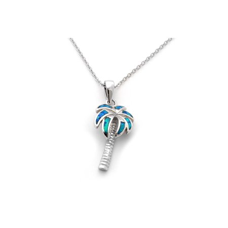 - Solid Sterling Silver Rhodium Plated Simulated Blue Opal Palm Tree Pendant Necklace
