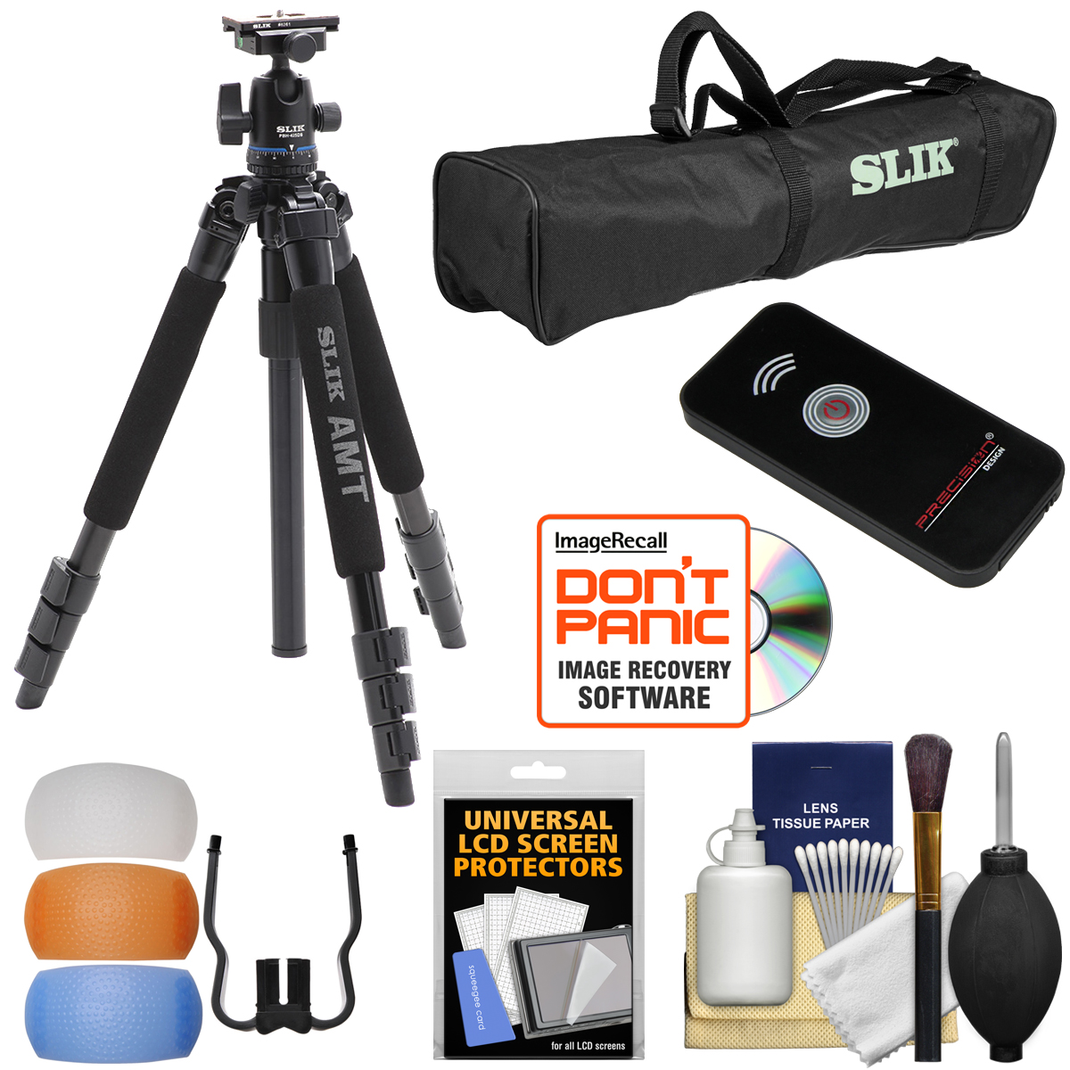 "Slik PRO 340 BHX 57"" Tripod with PBH-425DS Ball Head with Case + Remote + Flash Diffusers + Kit"