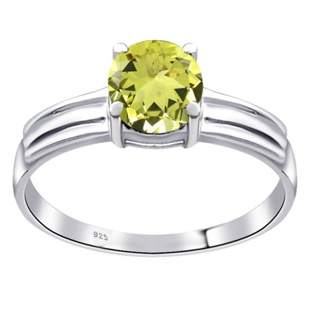 - Essence Jewelry 0.8 Carat Genuine Lemon Quartz Sterling Silver Solitaire Ring Size -8