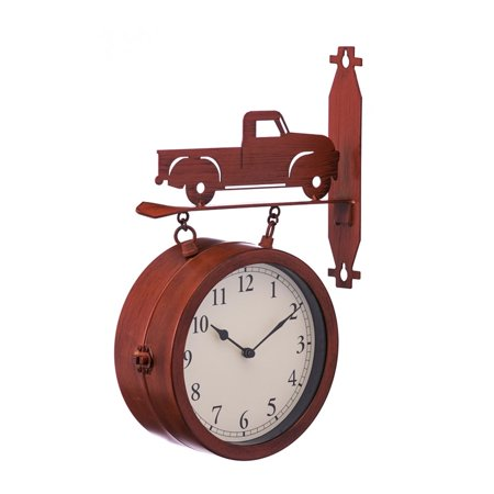 2-Sided Outdoor Wall Clock and Thermometer with Truck Icon ()