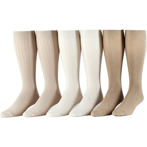 George - Big Men's Cotton Rib Crew Socks - 6 Pairs