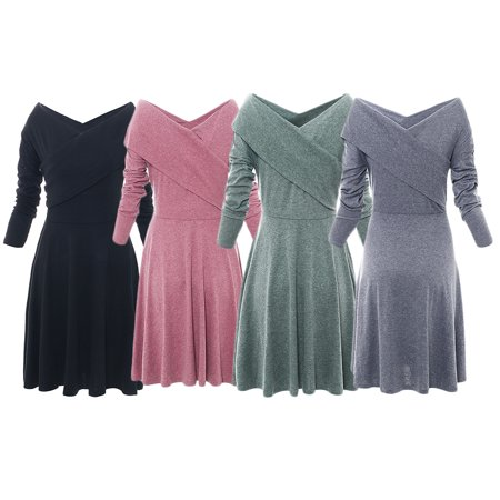Crinoline Dress Sale (Autumn & Winter Style Hot Sale Women's V-neck Long Sleeve Flare Bottoming)