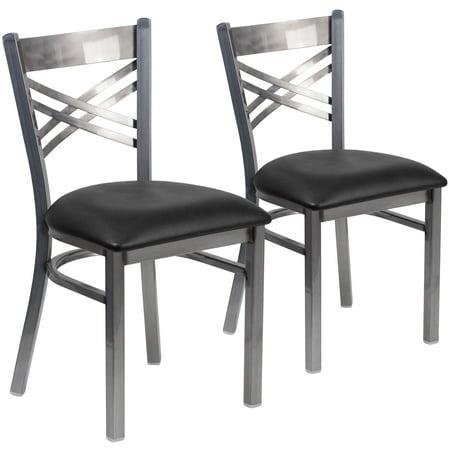 Flash Furniture 2 Pk. HERCULES Series Clear Coated ''X'' Back Metal Restaurant Chair - Black Vinyl Seat Clear Metal Chair