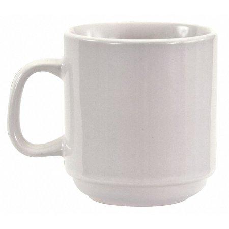 Crestware Mug, Stackable, Bright White, 10 oz., PK36 10 oz. Ceramic - Bright White Ceramic