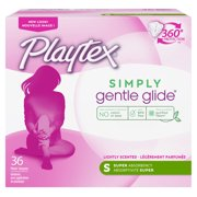 Playtex Simply Gentle Glide Tampons, Scented, Super, 36 Ct