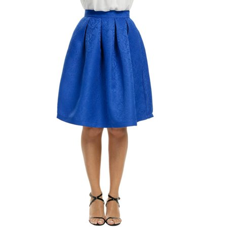Women Fashion High Waisted Floral Knee Length Pleated Party Skirt HFON