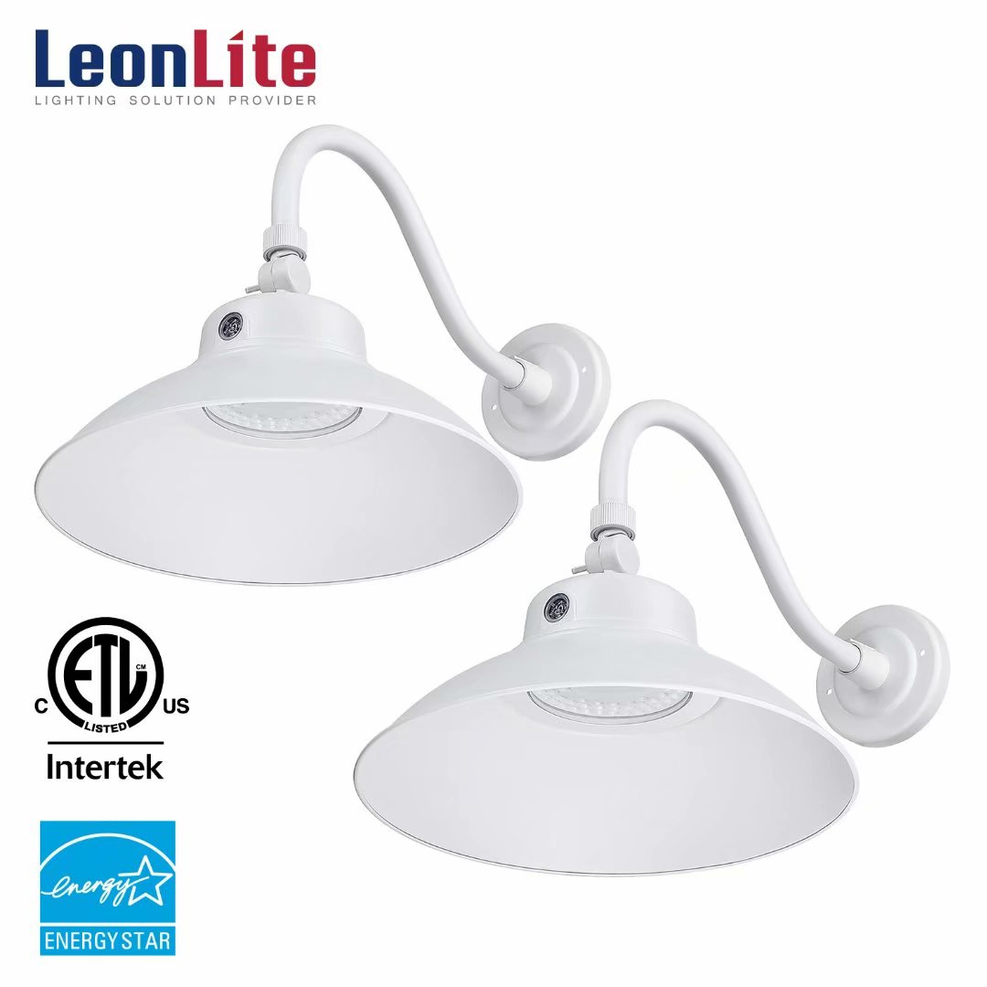 LEONLITE 2 Pack 42W Security Lights, LED Barn Light with Gooseneck, Wall Sconses Lights with Photocell, Outdoor Security Lights, 5000K Daylight