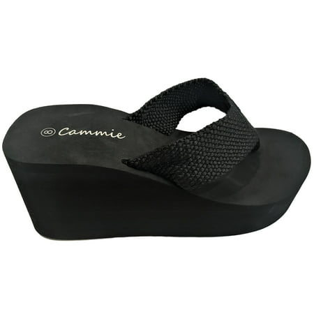 Flip Flop Seat (L-2155HH Women High Wedge Platform Slides Flip Flop Open Toe Sandal Black)