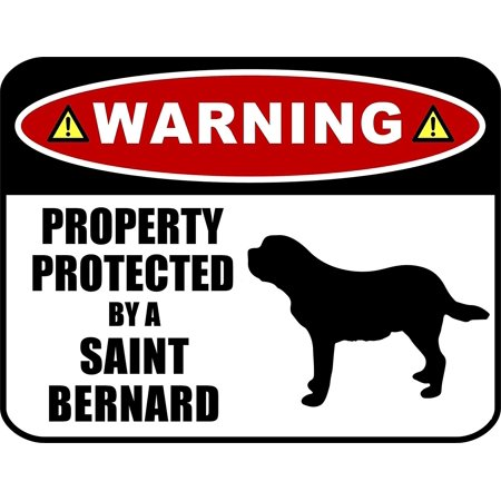 PCSCP Warning Property Protected by a Saint Bernard (SILHOUETTE) 11.5 inch x 9 inch Laminated Dog Sign