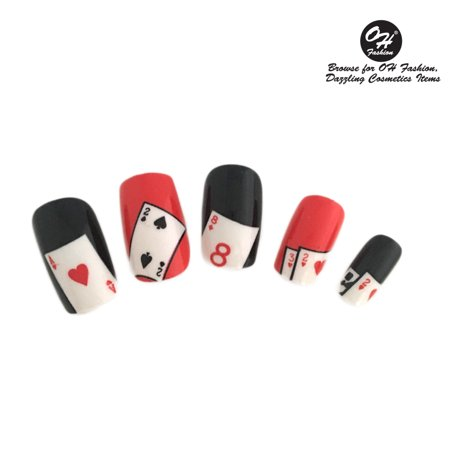 OH Fashion Stick on Nails, Fake Nails, Casino Night Cards pattern, Manicure, 24 pcs](Fake Halloween Nails For Sale)